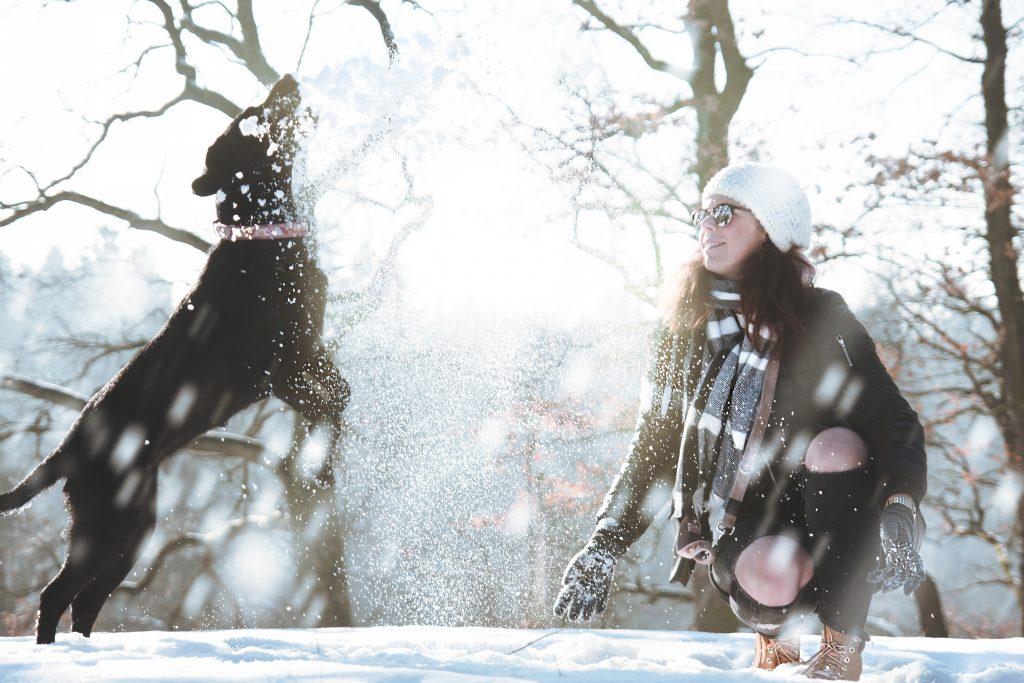 Frauchen und Hund im Schnee - da sollte man auf die Pfotenpflege wert legen